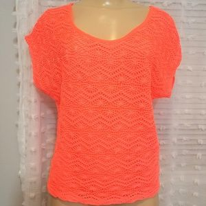 Neon Orange High low sheer back short sleeve top